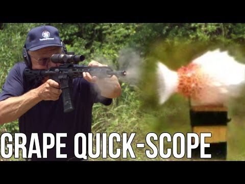 Quick scope a grape in half a second with an AR15! (Jerry Miculek)