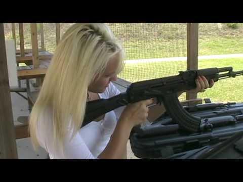 Daniella Firing Black Chopper AK-47 Rifle
