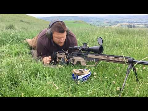 Shooting the 338 Lapua Magnum Steel Core Cyclone rifle at WMS Firearms Training in Wales