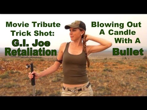 Blowing Out A Candle With A Bullet – G.I. JOE Movie Tribute Trick Shot |• Kirsten Joy Weiss