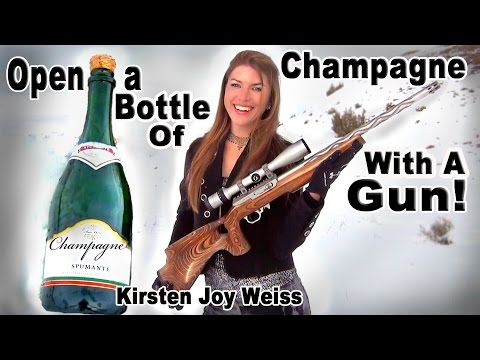 How To Open Up a Champagne Bottle With a Gun Instead of a Knife – Trick Shots